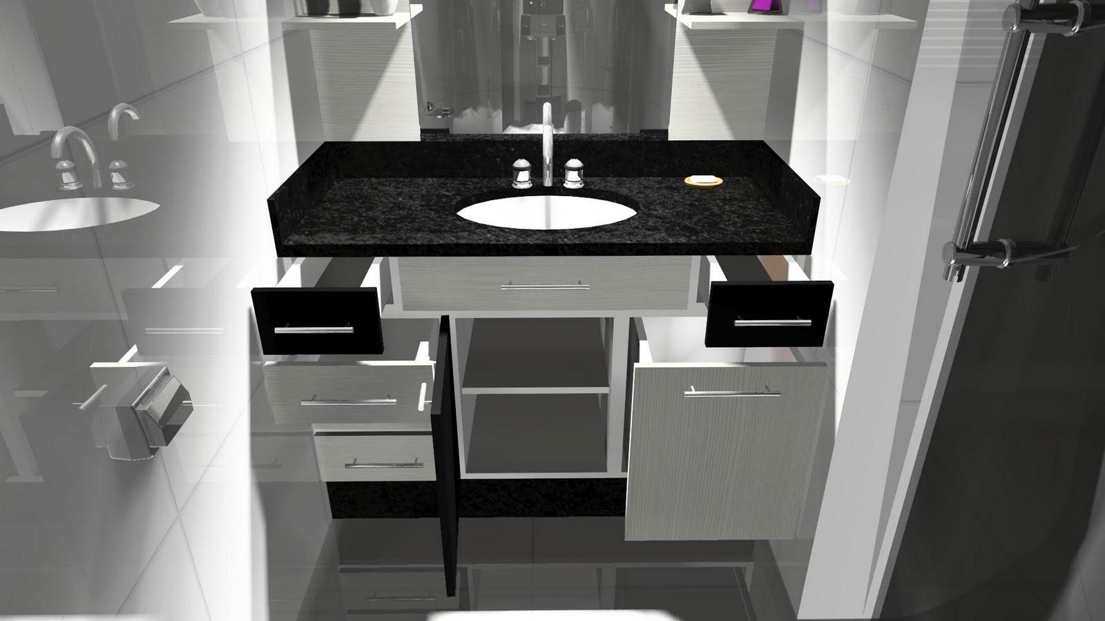 Espaço Nobre Design: Balcão de Banheiro (Preto Malago Ciliégio  #A229A1 1600x900 Balcão Para Banheiro Bosi