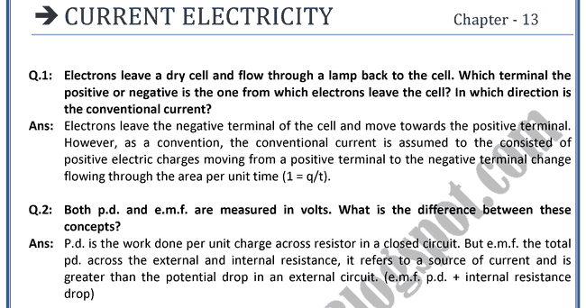 electricity questions and answers physics pdf