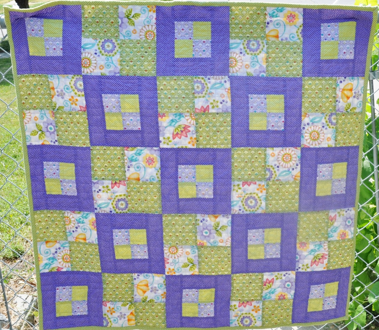 Richard and tanya quilts purple and green windows quilt for Window quilt