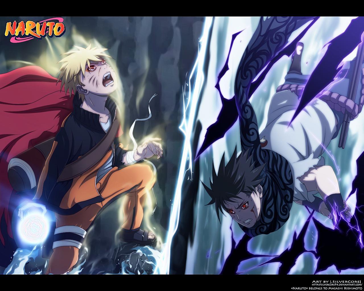 Naruto Uzumaki Sage Mode vs Sasuke HD wallpaper (1280 x 1024 )