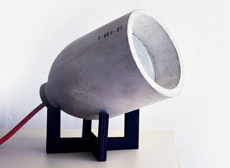 Luminária de concreto molde em pet