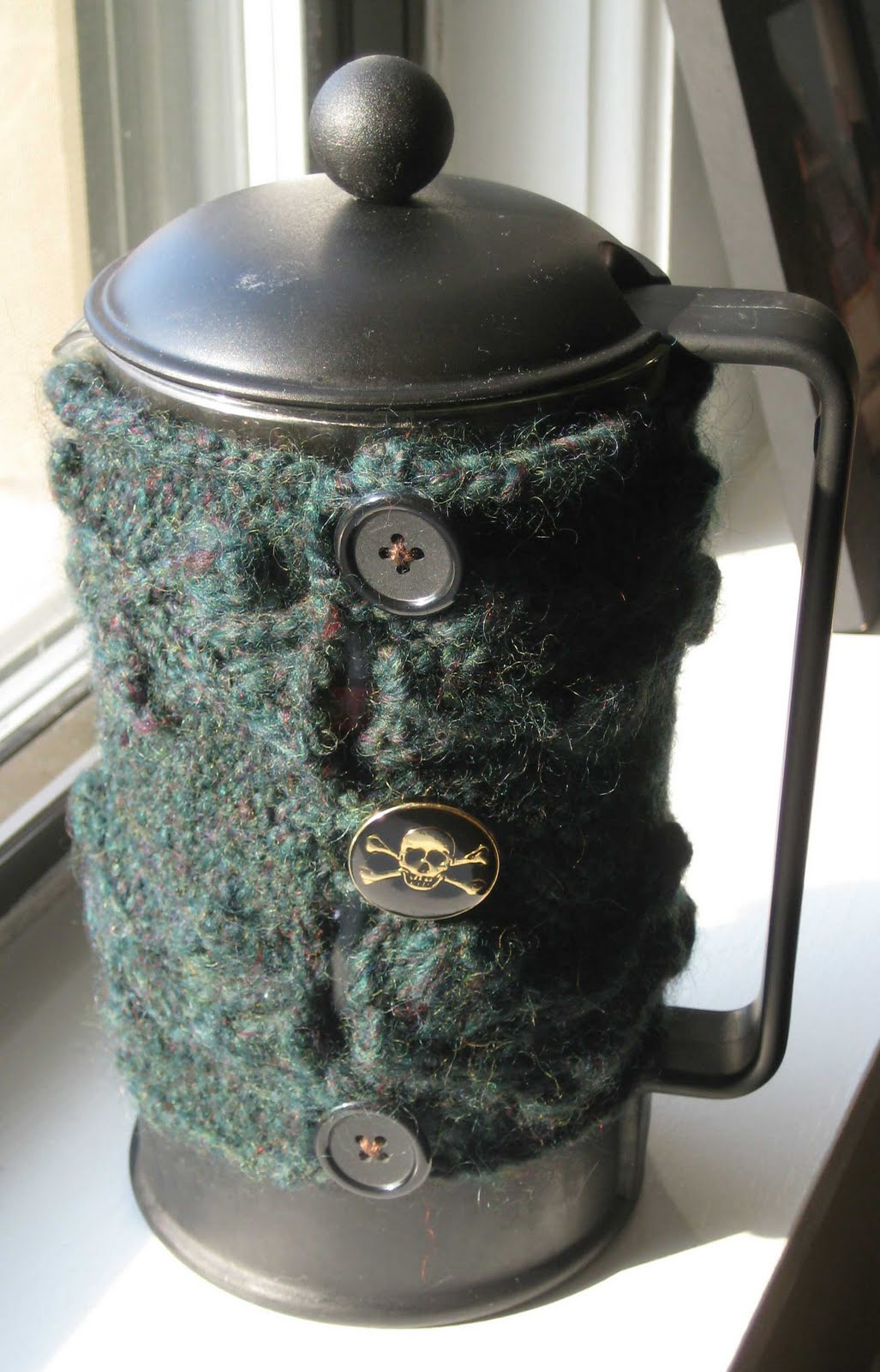 ChemKnits: Briar Rose French Press Coffee Cozy