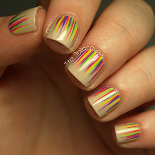 Neon Waterfall Nail Art