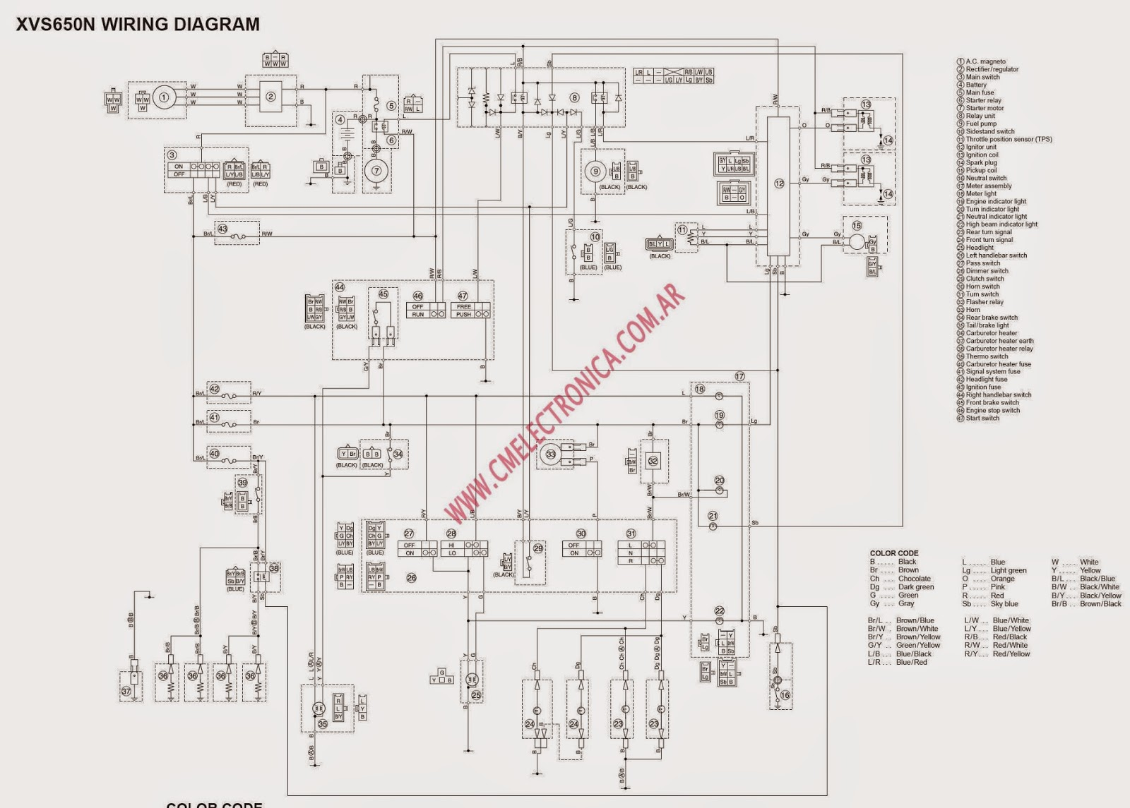 This is a wiring diagram for the XVS650 aka Dragstar aka VStar 650