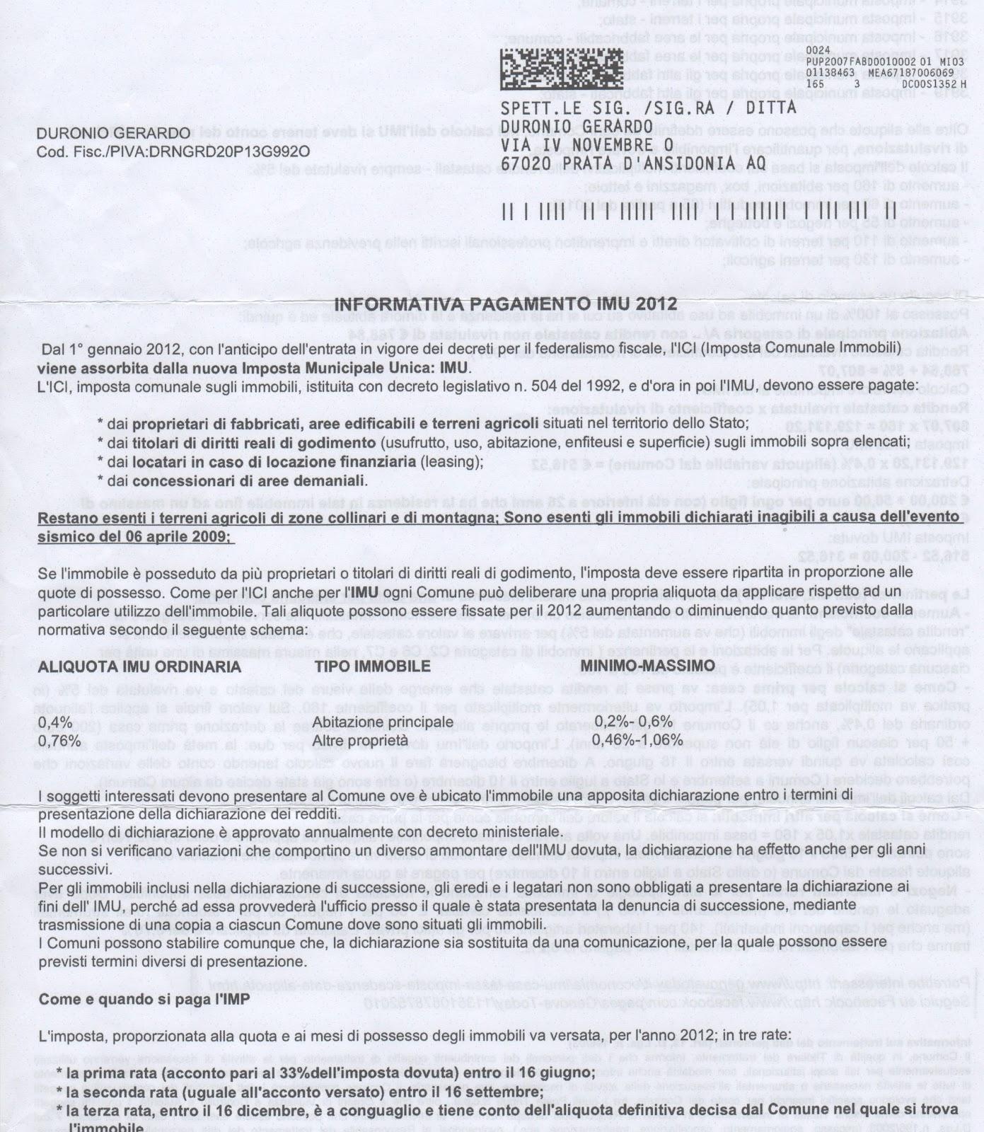 Gli sciiplinati lettera al sindaco ed informativa imu - Definizione prima casa ai fini imu ...