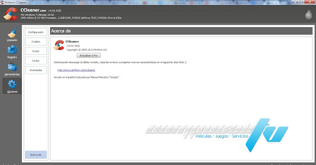 CCleaner Professional Edition Español Versión 4.07.4369