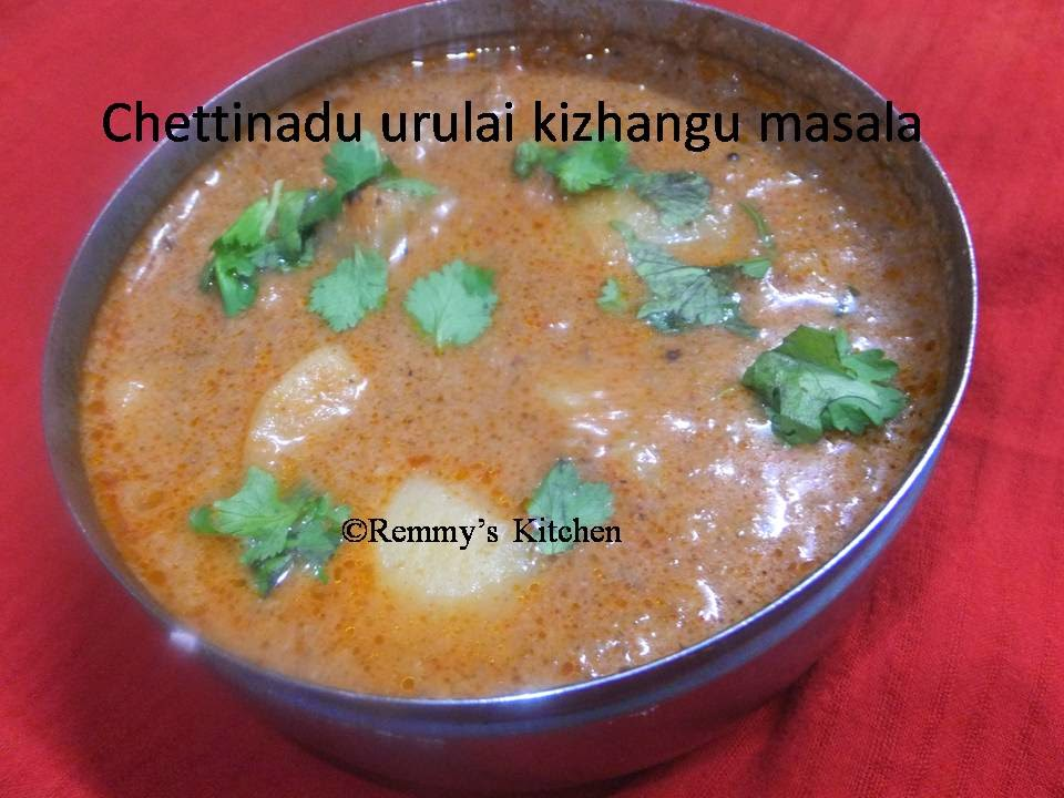 Chettinadu urulai kizhangu kuzhambu/Chettinadu potato masala