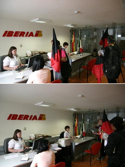 El aullido acci n en las oficinas de iberia m xico por un for Oficinas de iberia