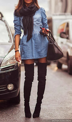Blue Jeans Denim Dress And Thigh High Black Suede Boots