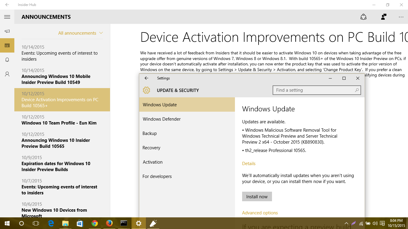 Windows 10 pc build 10565 improves device activation blogmytuts finally once you activate windows 10 or windows 10 insider preview build 10240 and higher youll be able to install public releases and windows 10 ccuart Gallery