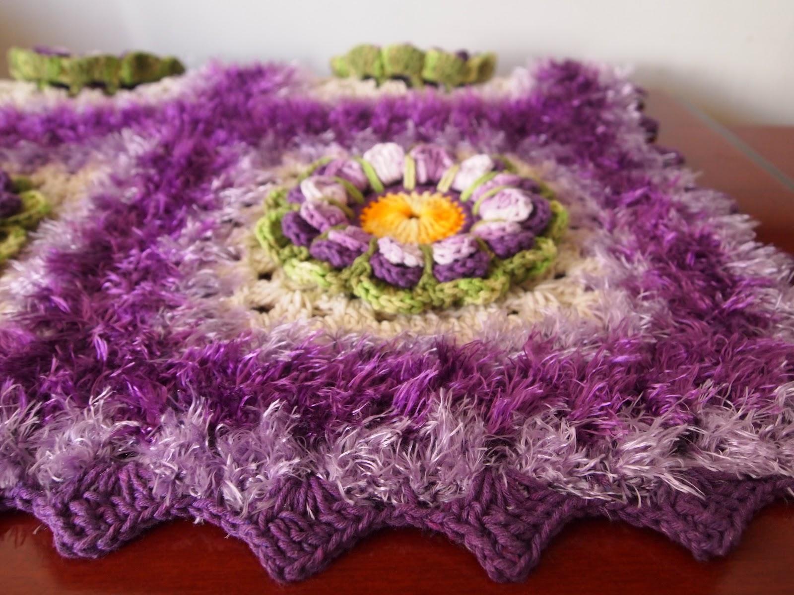 OS CROCHES DA ELSA: Tapete Lilás Roxo com Flor Encanto #B67415 1600 1200