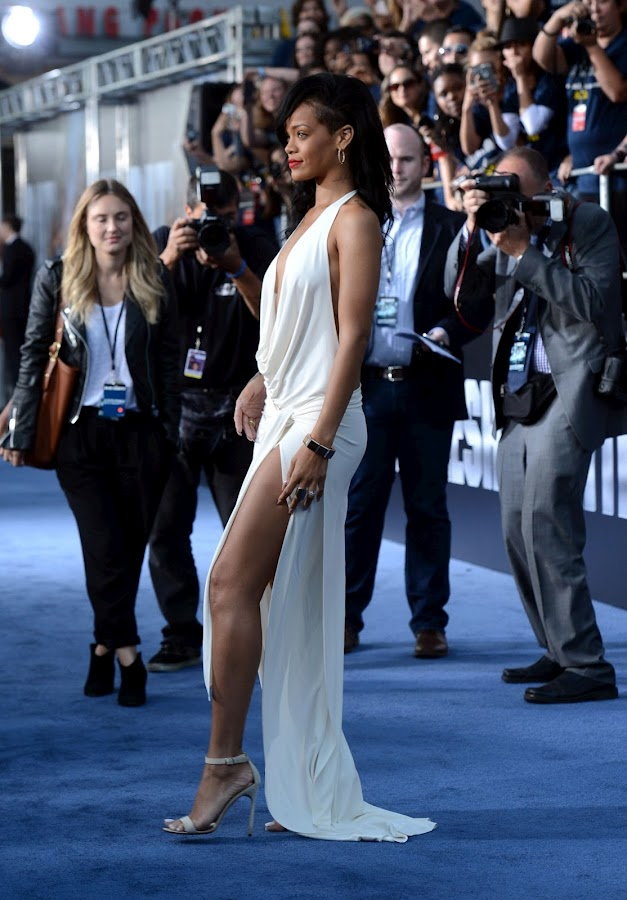 Rihanna on the blue carpet at Battleship movie premiere in L.A.