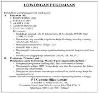 Loker PT. Gunung Hijau Lestari Palembang