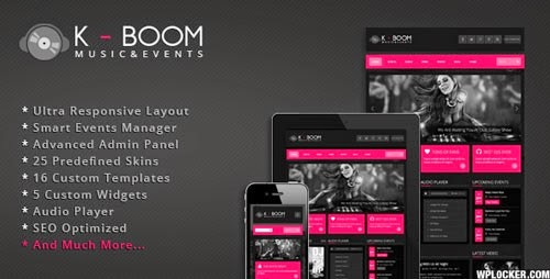 Download Free K-BOOM v1.2.1 Events & Music Responsive WP Theme
