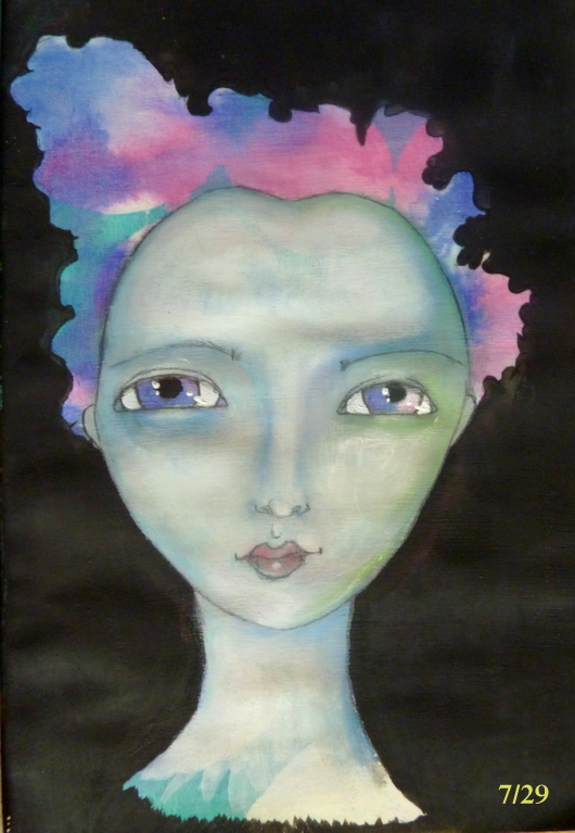 Whoopidooings: Carmen Wing - Mixed Media Oil Pastel Gouache Girl Face