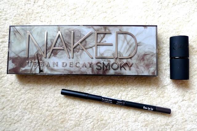 october favourites urban decay naked smoky eyeshadow palette, sleek true colour lipstick, sleek eyeliner