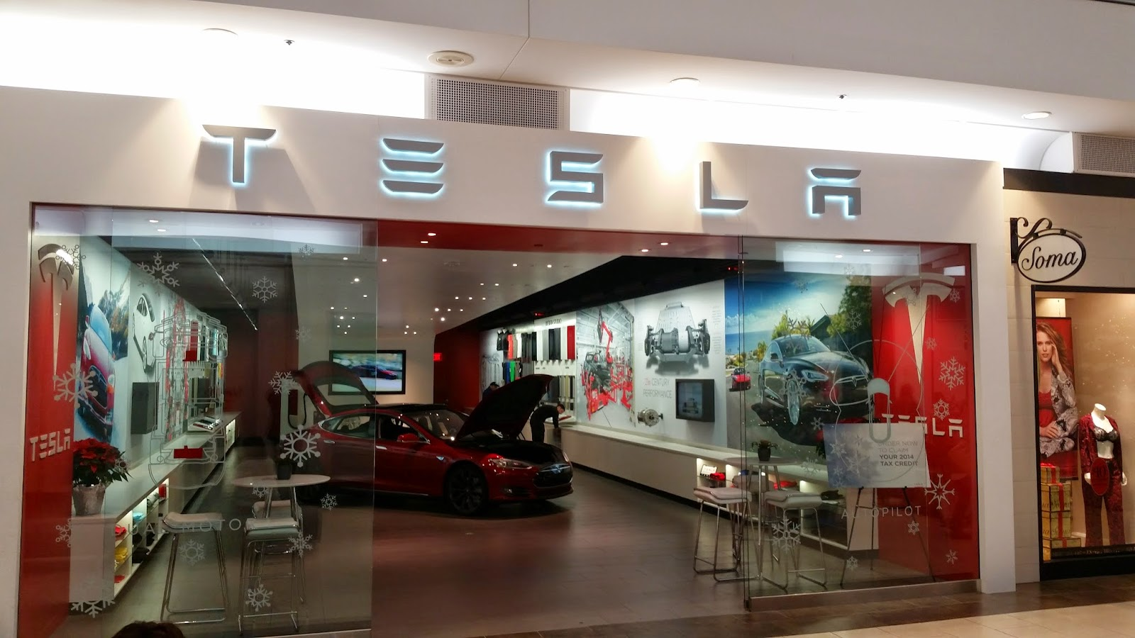 Tesla storefront at Natick Mall