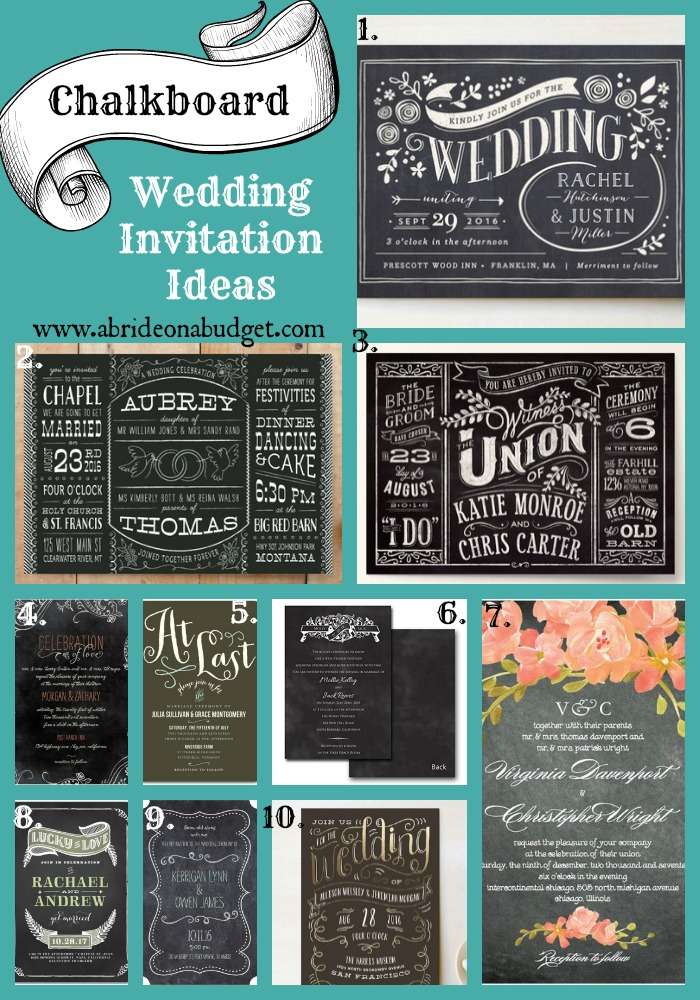 Chalkboard Wedding Invitation Ideas  A Bride On A Budget