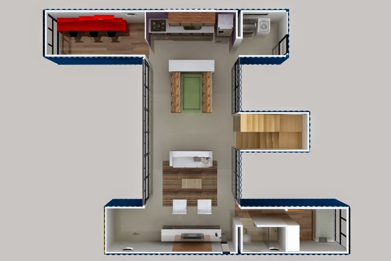 Casas contenedores 4 contenedores de 40 pies para crear - Disenos de casas con contenedores maritimos ...