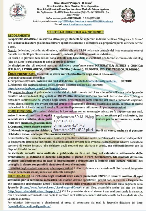 SD REGOLAMENTO 2018-19