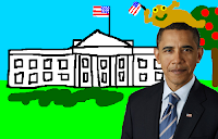 Barack Obama wearing Jabba the Hutt on his head
