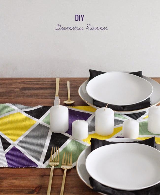 Decoraci n f cil diy camino de mesa geometrico for Camino mesa moderno