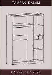 Tampak Dalam Lemari Pakaian 3 Pintu Bougenville Series Graver Furniture