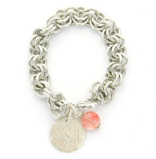 Monogrammed Charm on Chunky Silver tone Brass Chain Bracelet at www.emilyrosejewellery.com
