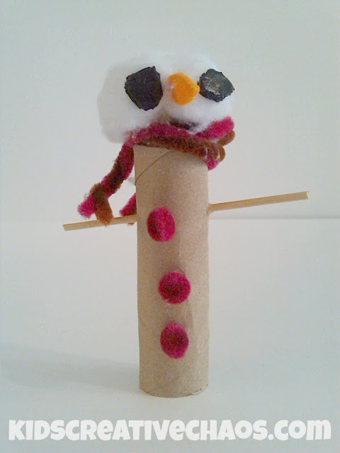 Cardboard Toilet Roll Snowman Craft with Scarf