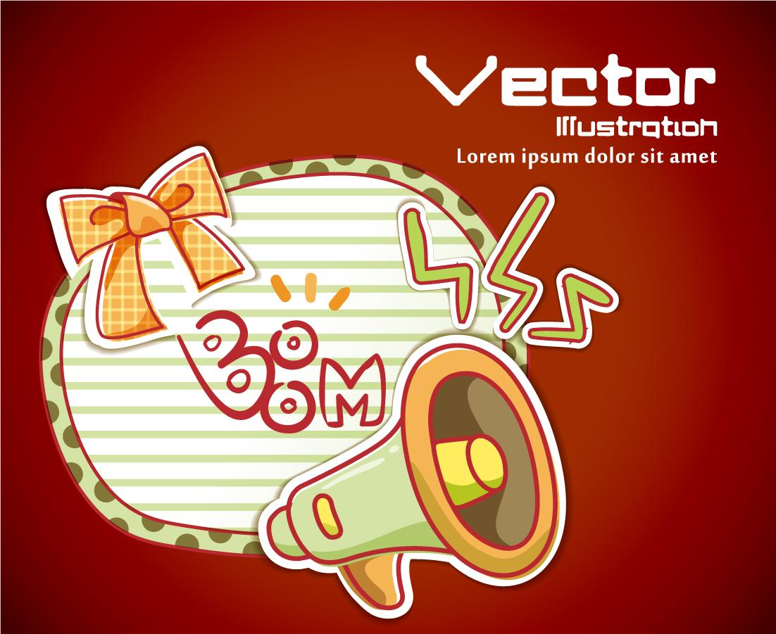 拡声器のお知らせテンプレート Cartoons loudspeakers labels イラスト素材