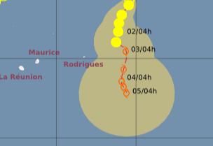 Potentieller Tropischer Sturm 15S (Zyklon JONI) entsteht NE von Rodrigues und Mauritius, Joni, aktuell, Mauritius, Februar, 2012, Satellitenbild Satellitenbilder, Indischer Ozean Indik, Zyklonsaison Südwest-Indik, Vorhersage Forecast Prognose, Verlauf, Zugbahn,