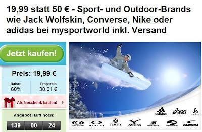 Groupon: Outdoor- und Sportbekleidungsgutschein im Wert von 50 Euro für mysportworld für 19,99 Euro