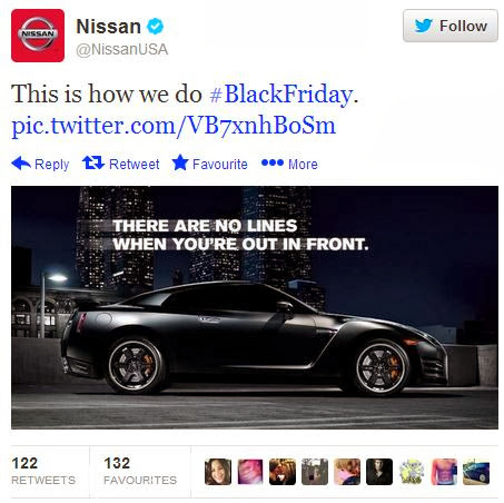 Nissan Black Friday tweet