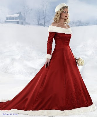 Red and White Wedding Dress Designs For Christmas Day - Wedding Dress