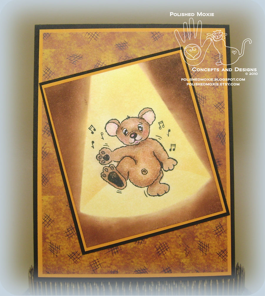 Picture of handmade dancing teddy bear card