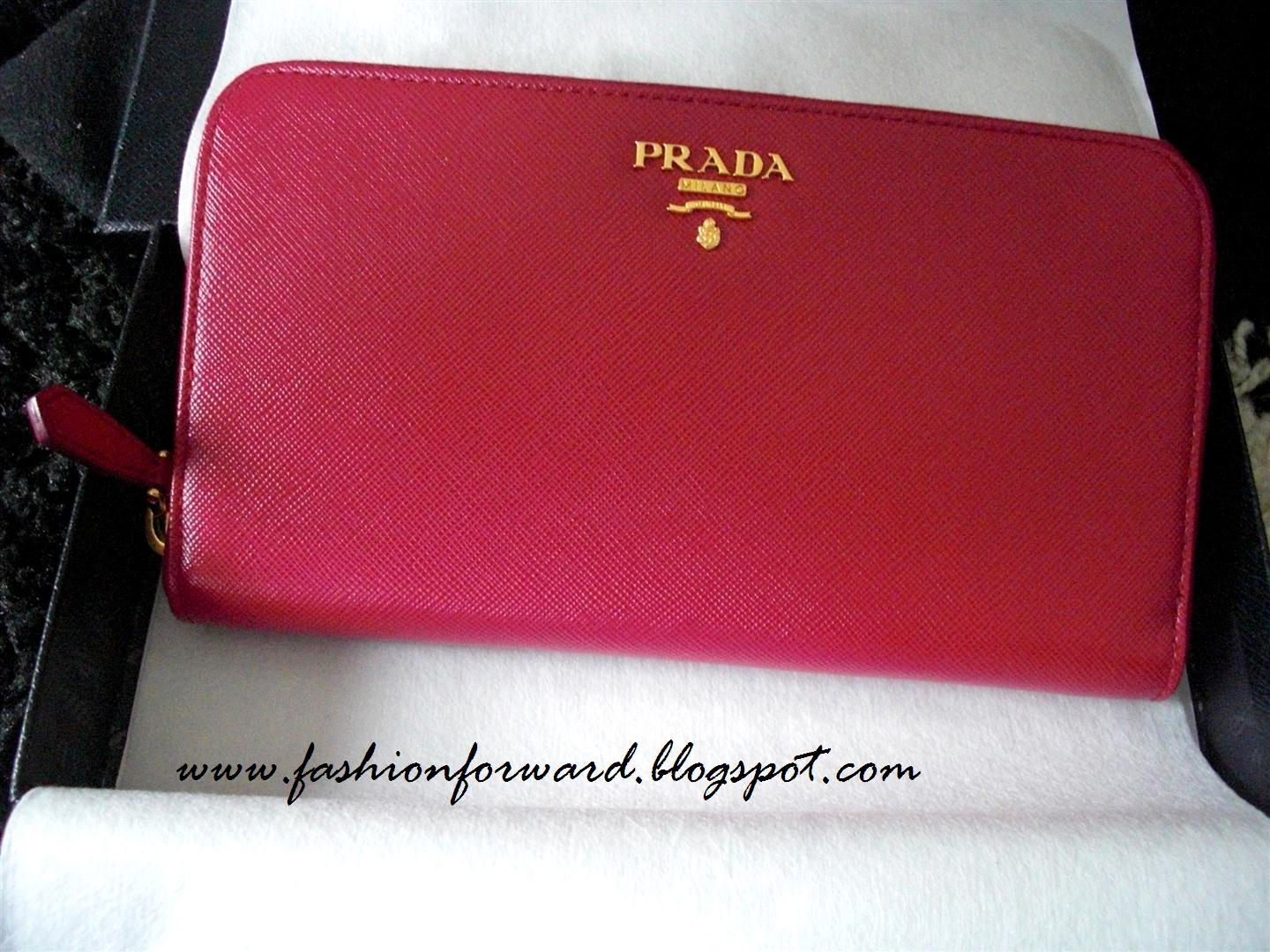 Prada Saffiano leather wallet in hibiscus