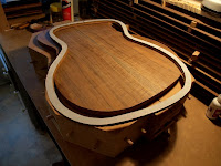 Gluing guitar soundboard and back