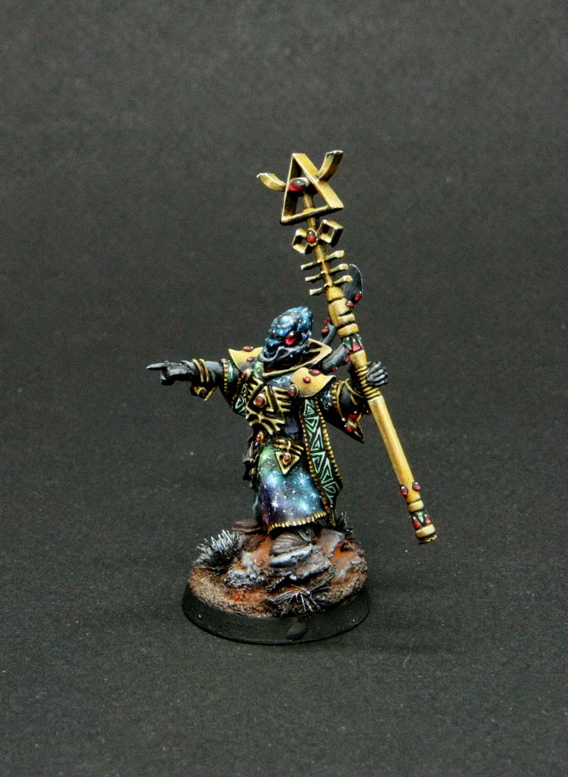 Hoperivers valley space eldar army spiritseer version 2 but now the armys owner asked me to paint one more with optional heads so spiritseer can change his appearance now i did some conversion to make him a publicscrutiny Images