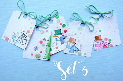 SRM Stickers Blog - Snowflakes in the Air by Shannon -#christmas #tags #gifttags #clearstamps #janesdoodles #warmwishes #twine #shimmertwine #DIY