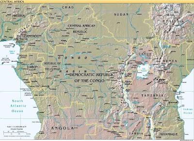 Physische landkarte von zentralafrika 1999 englisch