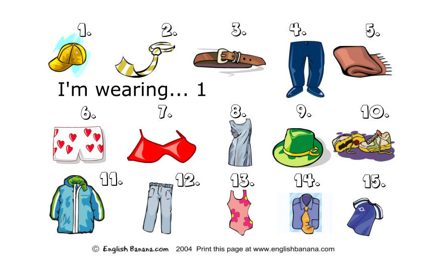 English is fun with Alice: CLOTHES VOCABULARY