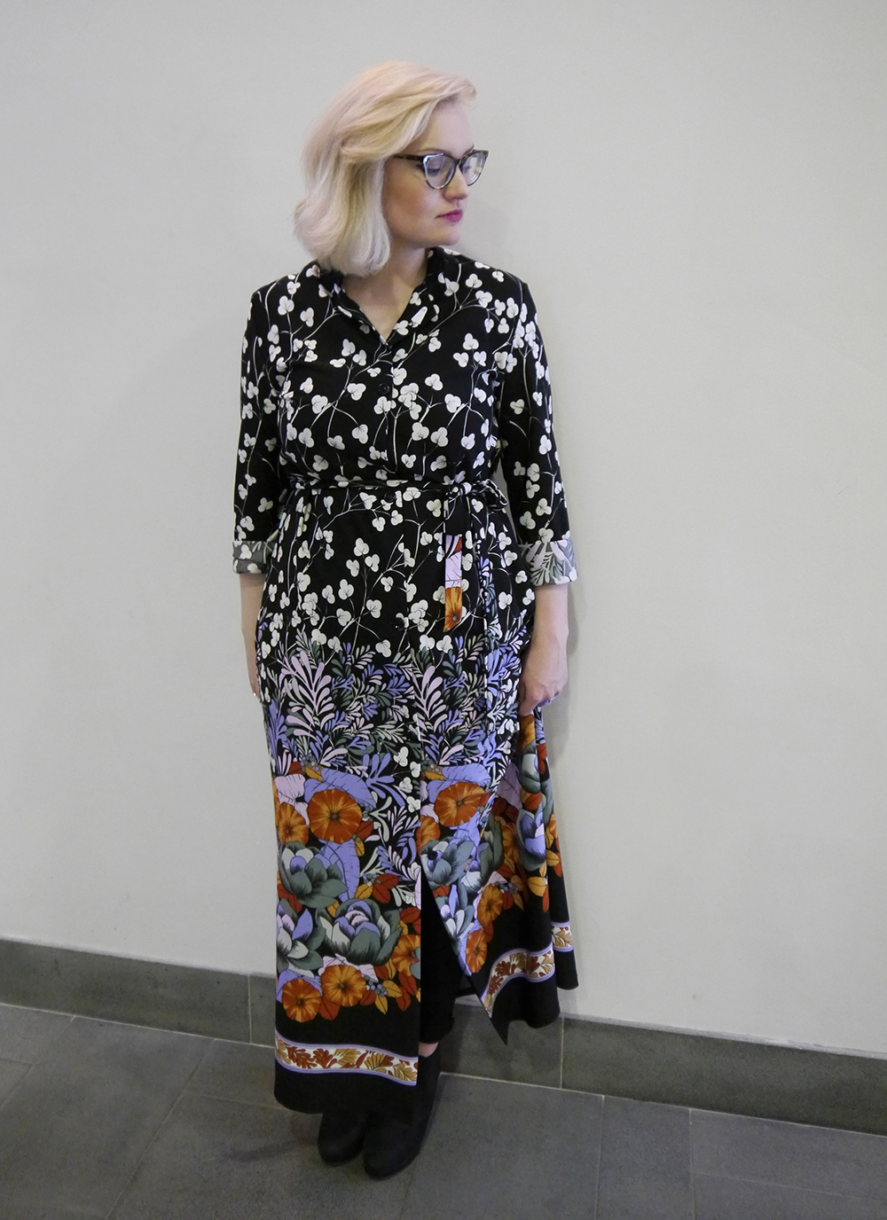Glass Onion Vintage, floral maxi shirt dress, vintage style, The McManus Gallery, Dundee style blogger, Scottish fashion blog, IOLLA Muir frames
