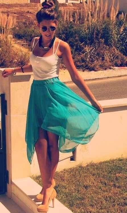 Blue Flowy Skirt. Simple. Cute. Teen Fashion. By-Lily Renee♥