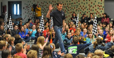 "#NASCAR Driver, Kasey Kahne visited his childhood school Southwood Elementary today and honored former Principal Jake Thomas and fourth-grade teacher Jody Emerson with a heartfelt ""Thank You"" in front of hundreds of excited students."