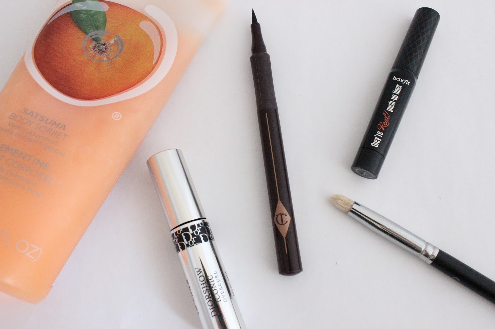 Disappointing Products: The Body Shop Satsuma Body Sorbet, Diorshow Iconic Overcurl Mascara, Charlotte Tilbury The Feline Flick Quick Line Shodo Pen, Benefit They're Real Push-Up Liner, Crownbrush C431 Precision Detail Brush