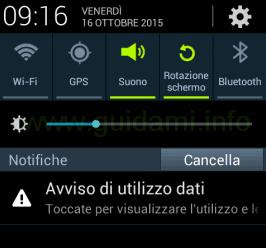 Android notifica Avviso di utilizzo dati