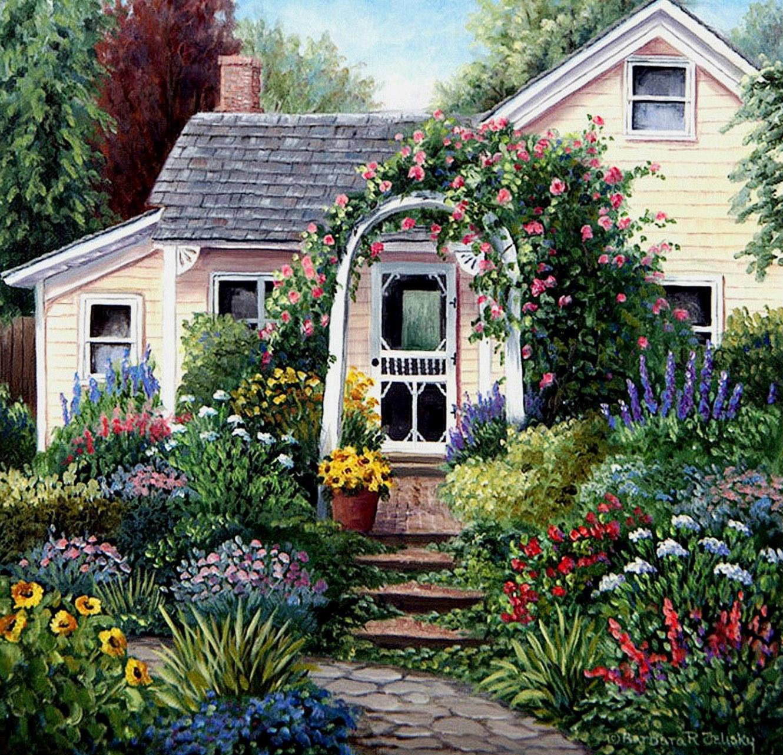 Cuadros modernos pinturas y dibujos cuadros de casas con for Jardines de casas