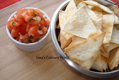 baked tortilla chips and salsa