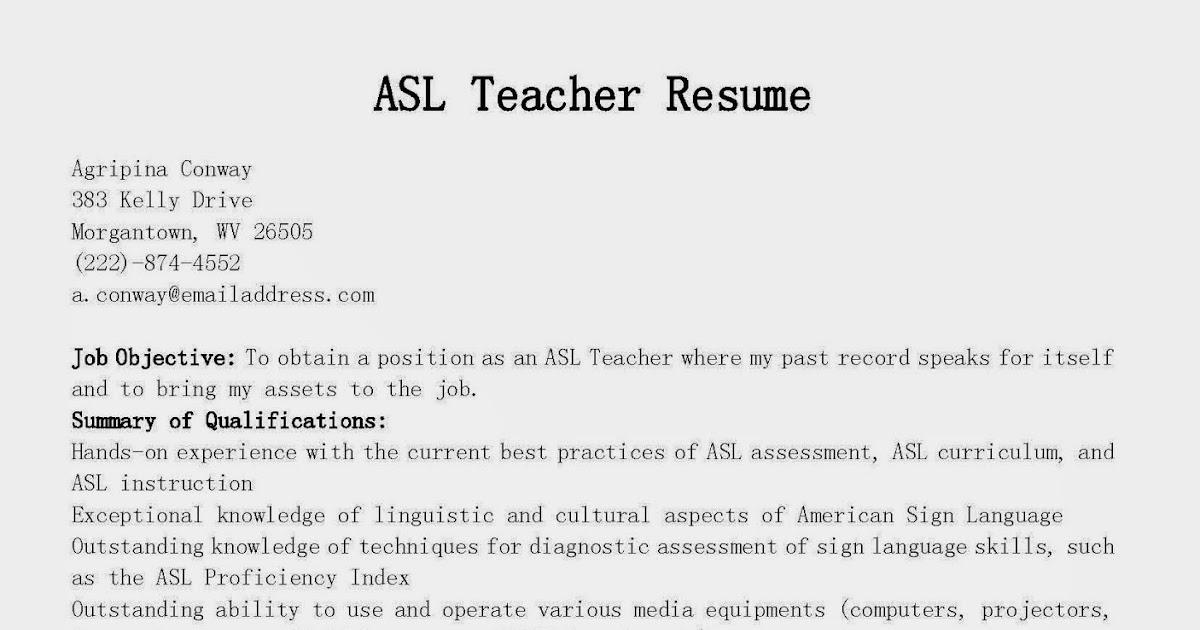 resume samples  asl teacher resume sample
