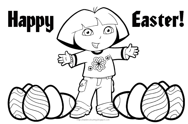 Dora the Explorer Easter coloring pages for you to print and color  title=